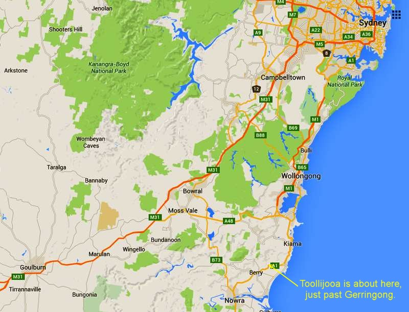 Road map Sydney to Nowra